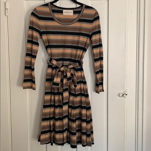 Orla Kiely Olive & Orange Striped Cotton Dress UK8